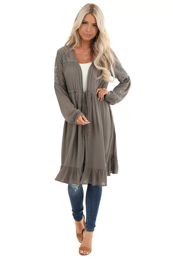 Stone Grey Long Open Front Kimono with Sheer Lace Details front full body