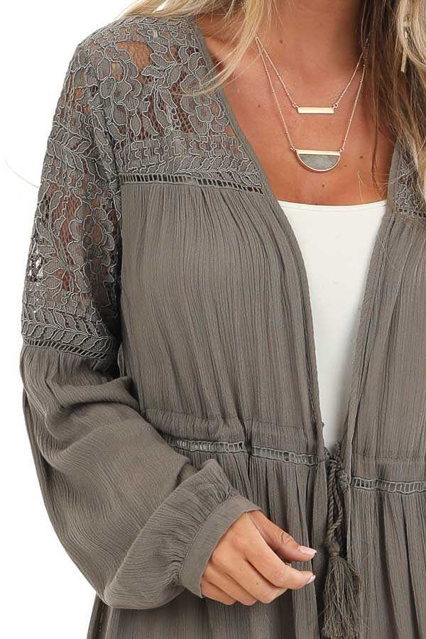 Stone Grey Long Open Front Kimono with Sheer Lace Details detail