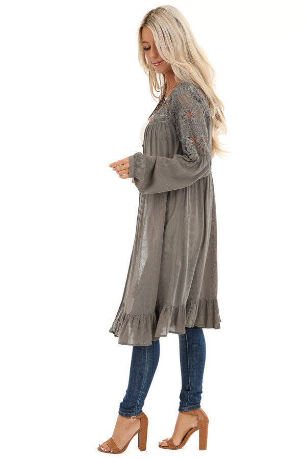 Stone Grey Long Open Front Kimono with Sheer Lace Details side full body