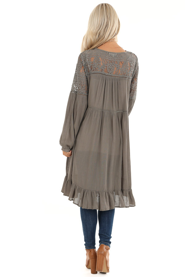 Stone Grey Long Open Front Kimono with Sheer Lace Details back full body