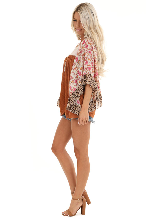 Ginger and Cream Waffle Knit Top with Sheer Floral Sleeves side full body