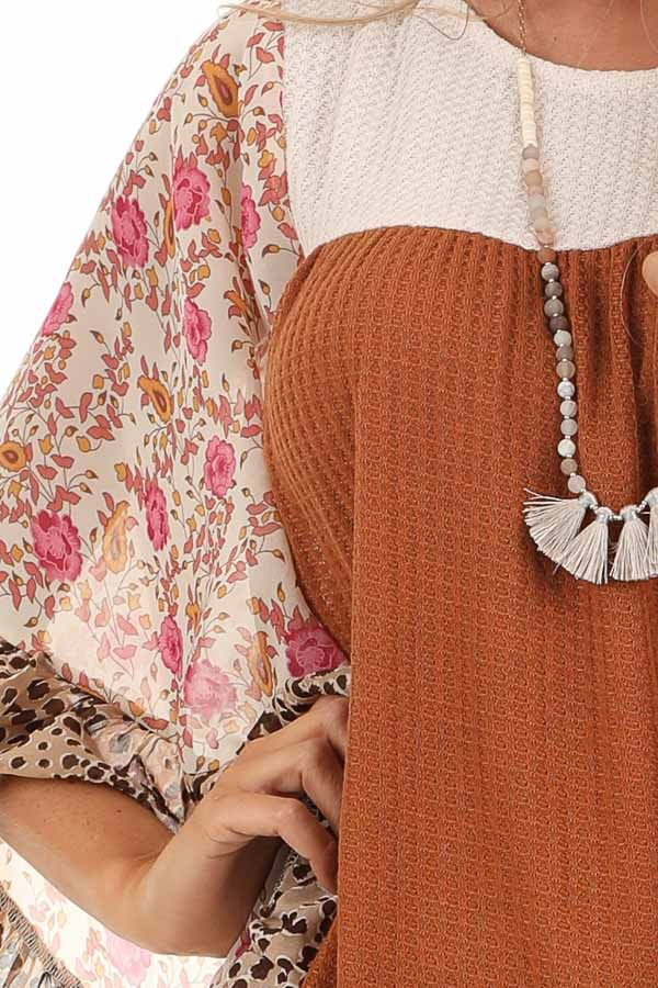 Ginger and Cream Waffle Knit Top with Sheer Floral Sleeves detail