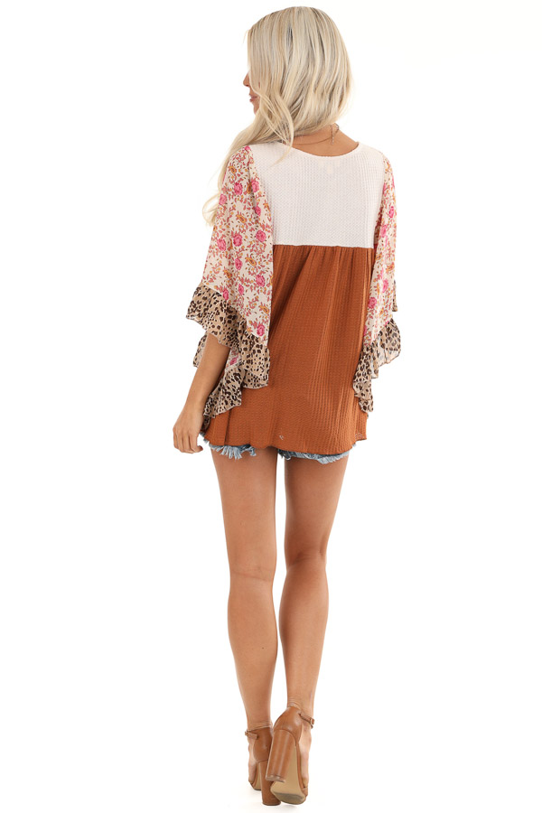 Ginger and Cream Waffle Knit Top with Sheer Floral Sleeves back full body