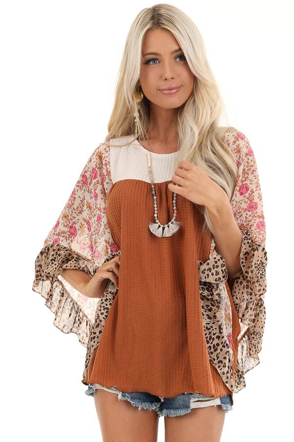 Ginger and Cream Waffle Knit Top with Sheer Floral Sleeves front close up