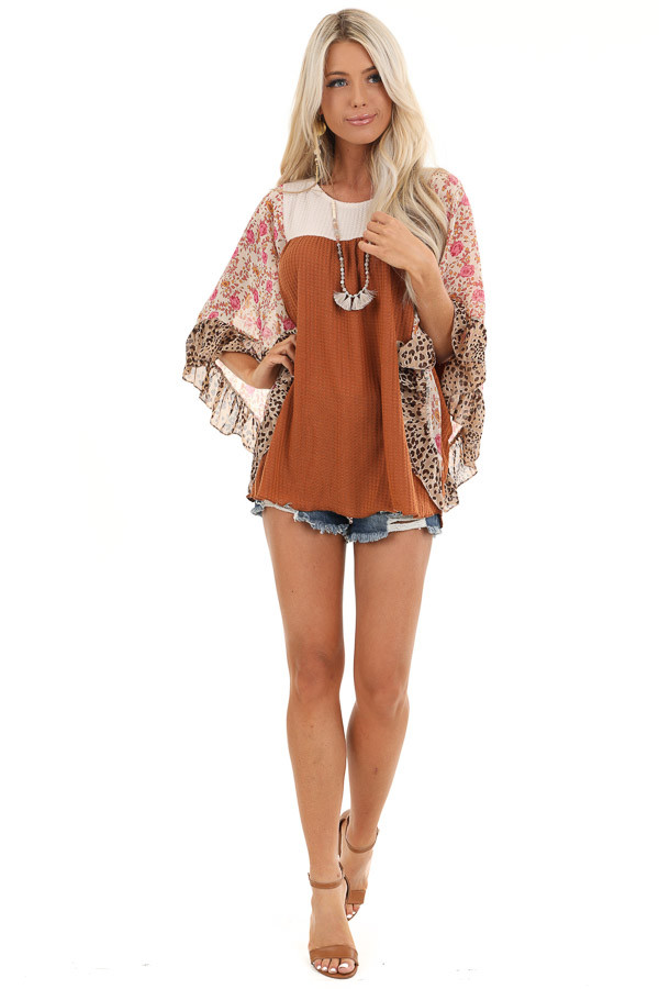 Ginger and Cream Waffle Knit Top with Sheer Floral Sleeves front full body