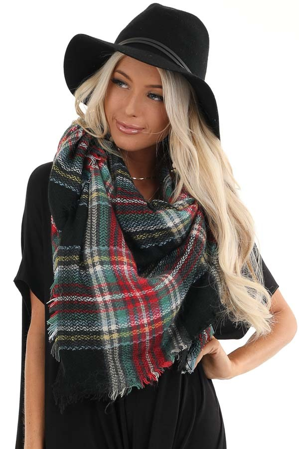 Black and Lipstick Red Plaid Print Scarf with Fringe Details