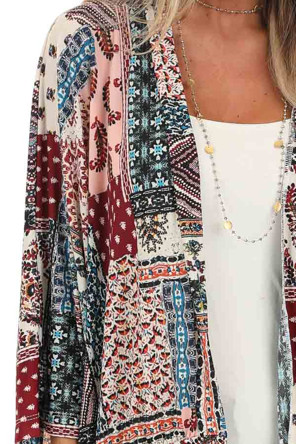 Baby Pink and Burgundy Multi Print Kimono with Open Front detail