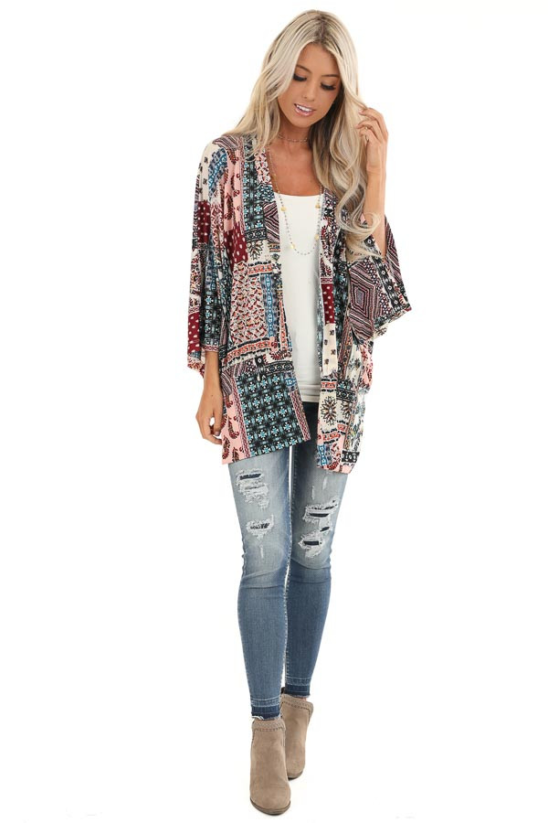 Baby Pink and Burgundy Multi Print Kimono with Open Front front full body