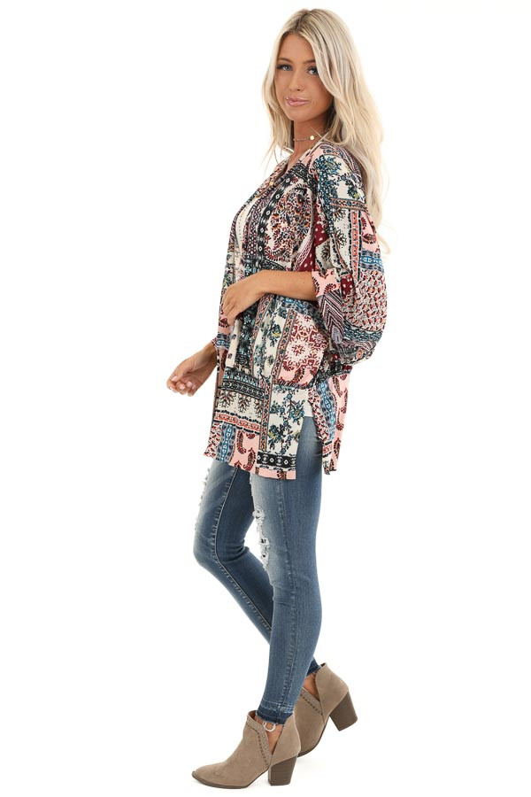 Baby Pink and Burgundy Multi Print Kimono with Open Front side full body