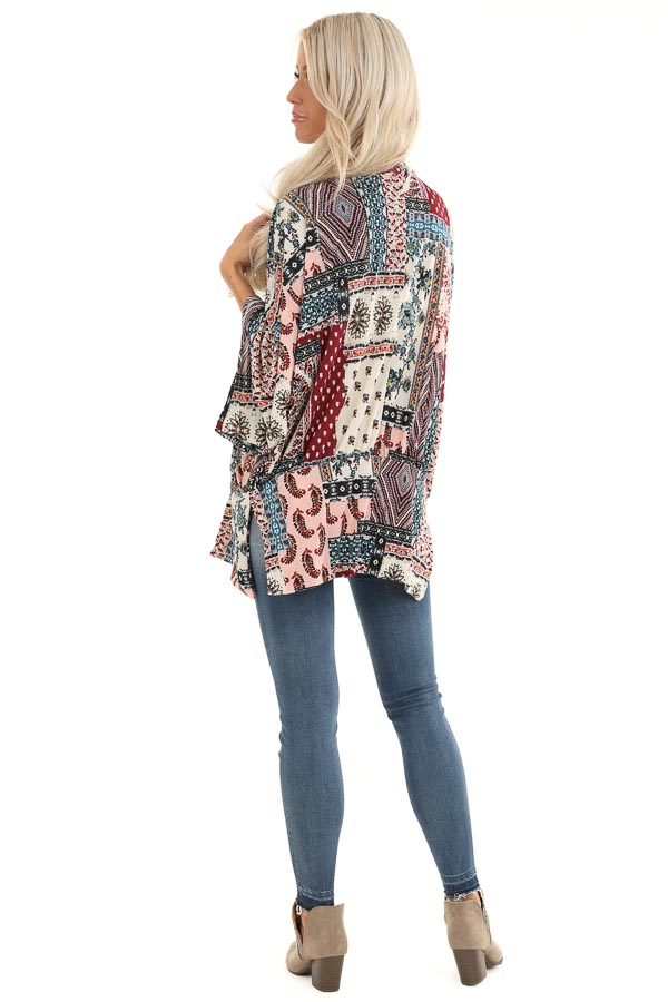 Baby Pink and Burgundy Multi Print Kimono with Open Front back full body