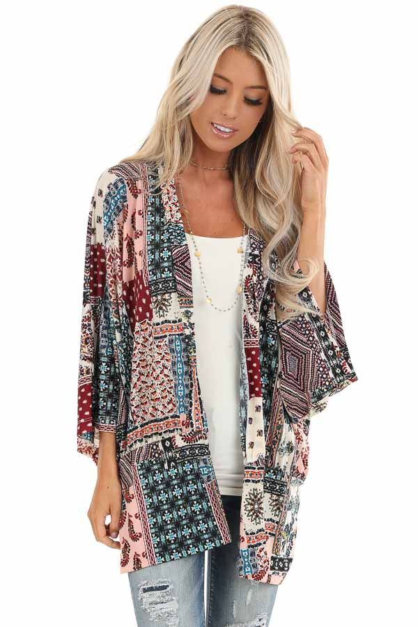 Baby Pink and Burgundy Multi Print Kimono with Open Front front close up