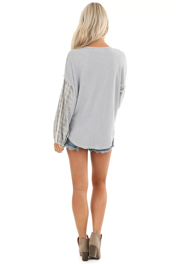 Grey Knit Ribbed Top with Contrast Striped Sleeves back full body