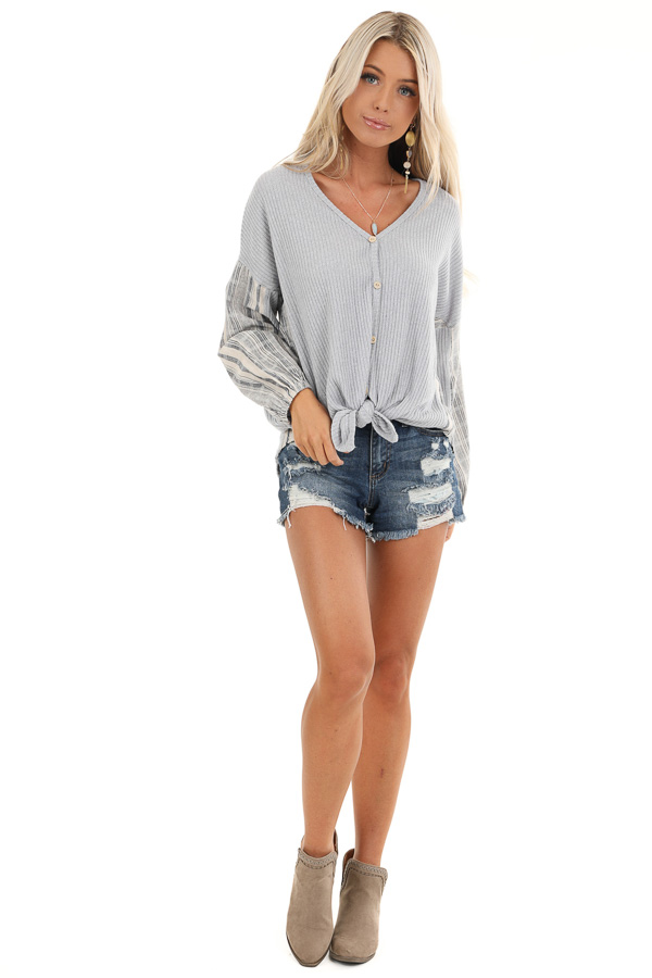 Grey Knit Ribbed Top with Contrast Striped Sleeves front full body