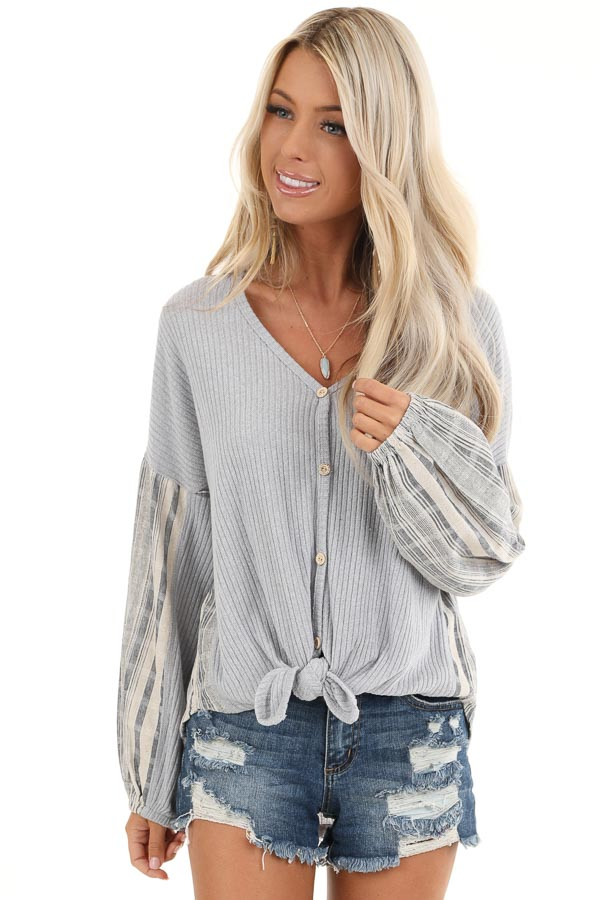 Grey Knit Ribbed Top with Contrast Striped Sleeves front close up