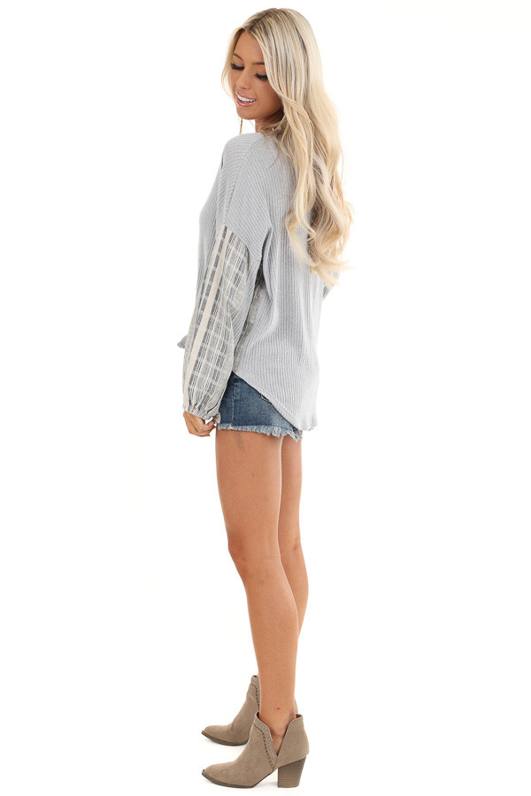 Grey Knit Ribbed Top with Contrast Striped Sleeves side full body