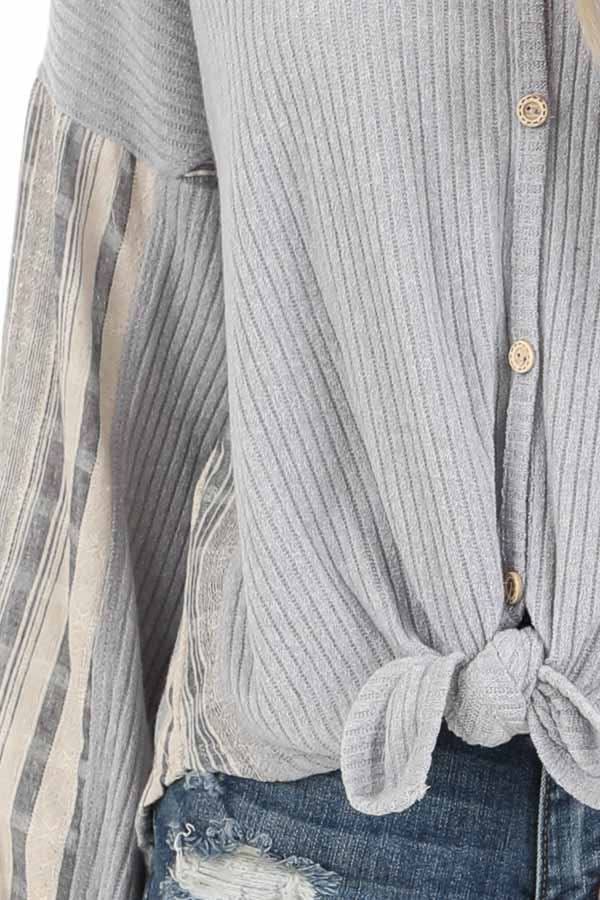 Grey Knit Ribbed Top with Contrast Striped Sleeves detail
