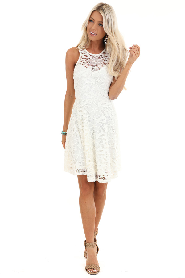 Daisy White Sleeveless Dress with Lace Details front full body