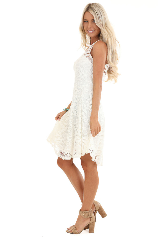 Daisy White Sleeveless Dress with Lace Details side full body