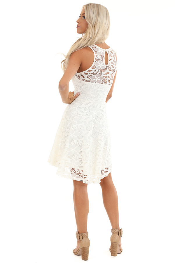 Daisy White Sleeveless Dress with Lace Details back full body