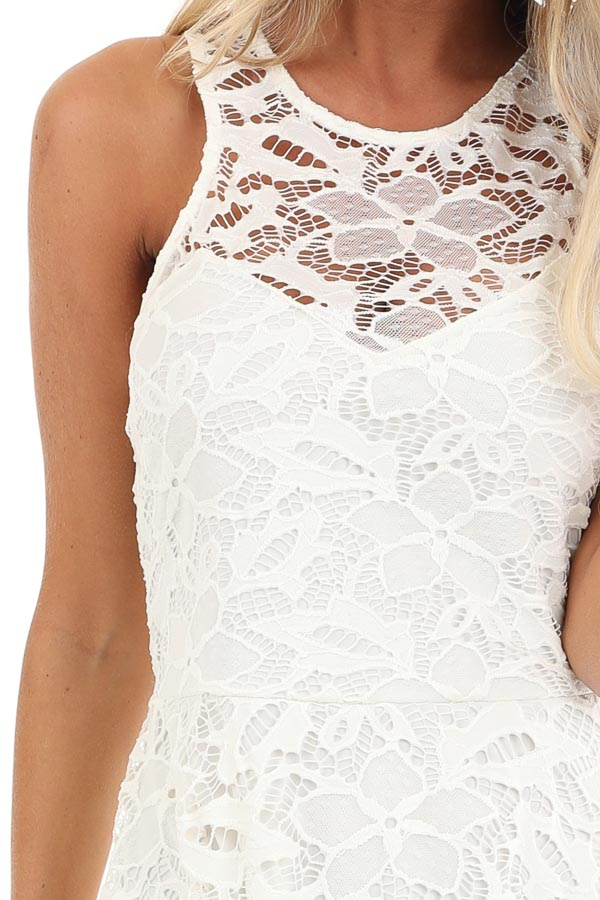 Daisy White Sleeveless Dress with Lace Details detail