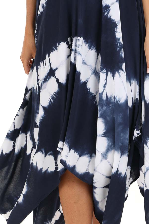 Navy Blue Tie Dye Midi Dress with Handkerchief Hemline detail