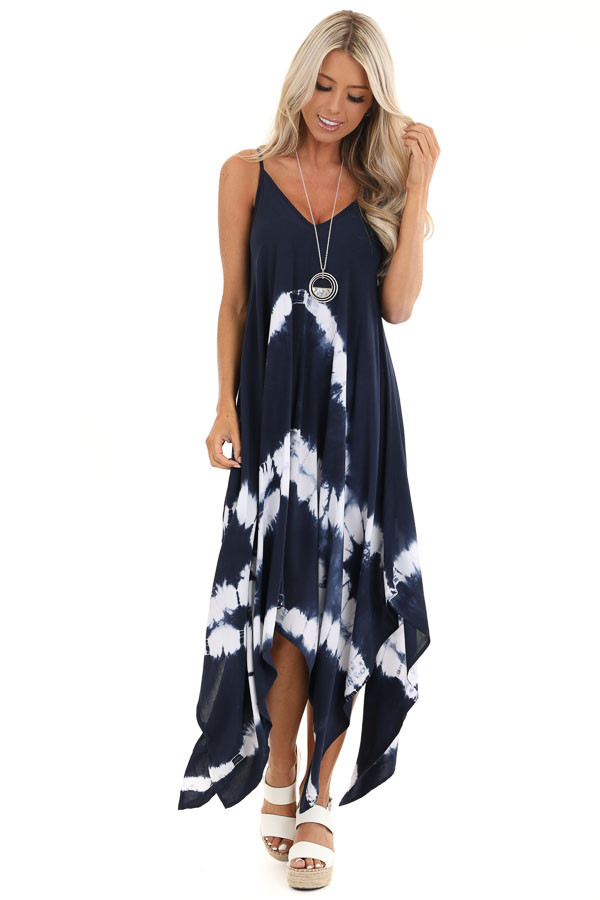 Navy Blue Tie Dye Midi Dress with Handkerchief Hemline front full body