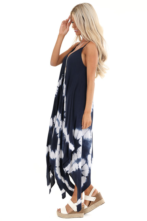 Navy Blue Tie Dye Midi Dress with Handkerchief Hemline side full body