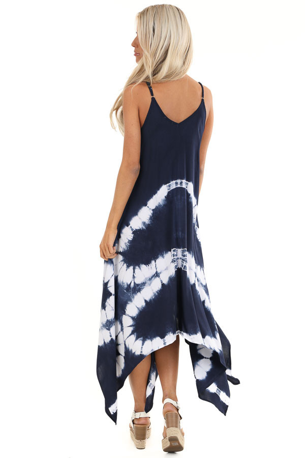 Navy Blue Tie Dye Midi Dress with Handkerchief Hemline back full body