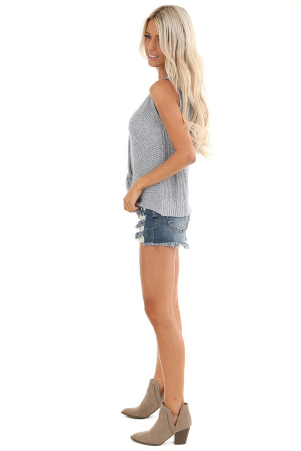 Slate Blue Knit Sweater Top with Front Twist Detail side full body