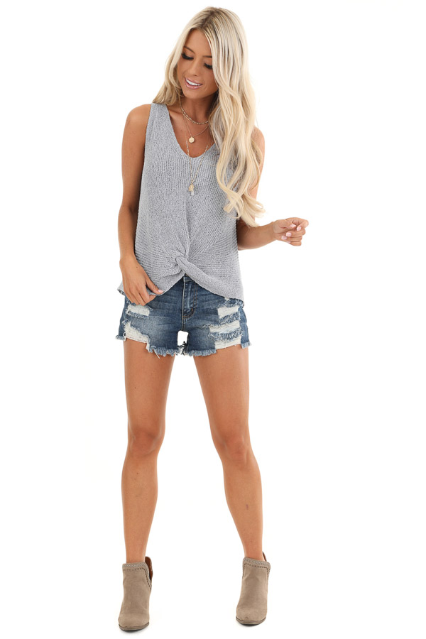 Slate Blue Knit Sweater Top with Front Twist Detail front full body