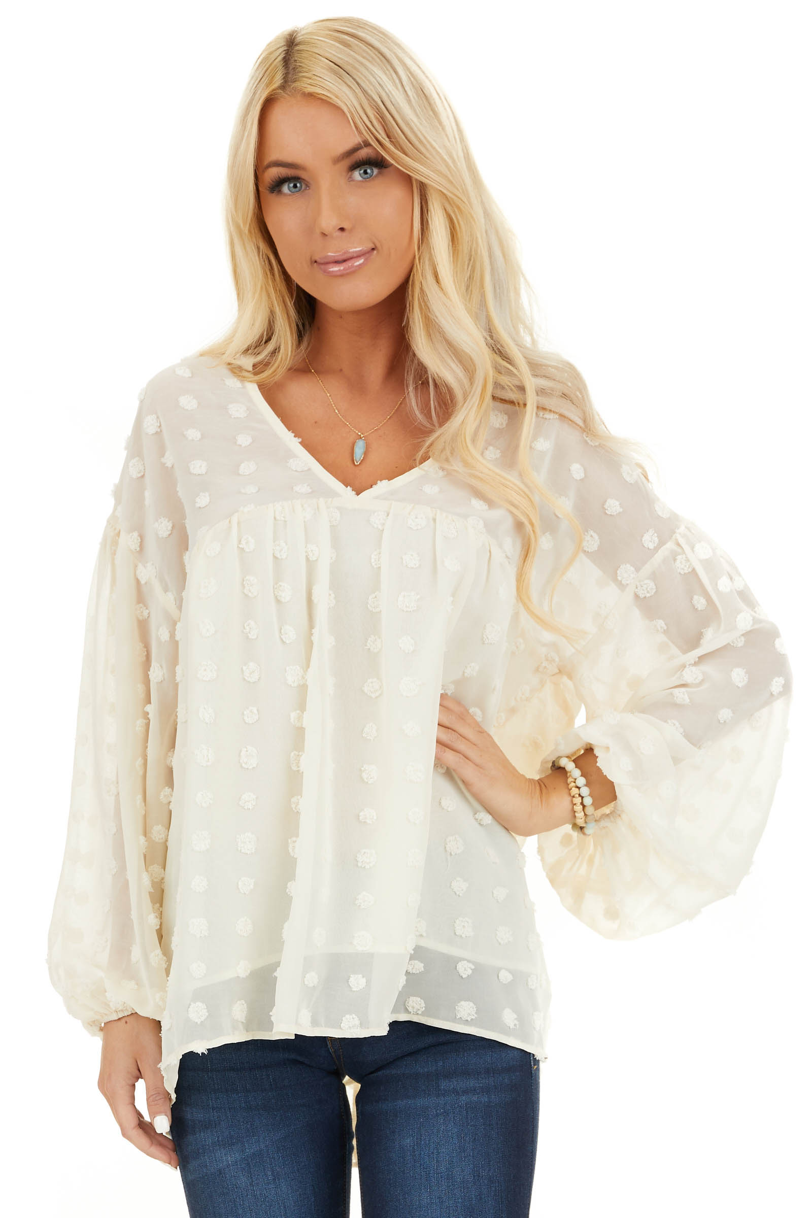 Cream V Neck Slightly Sheer Blouse with Long Sleeves front close up