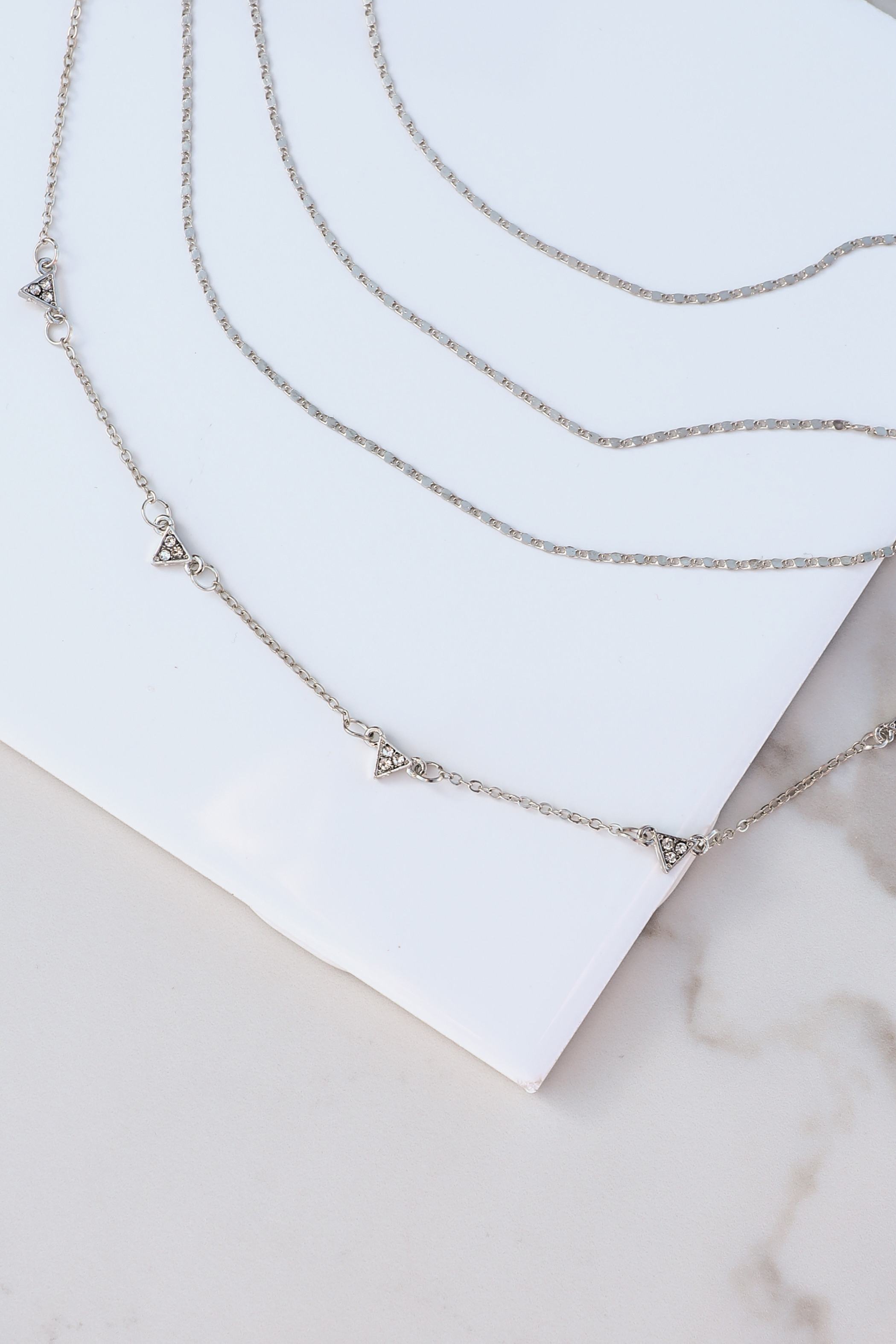 Silver Layered Textured Chain Necklace with Triangle Details