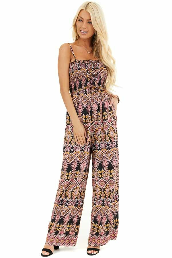Black and Rose Printed Jumpsuit with Smocked Lace Up Bodice front full body