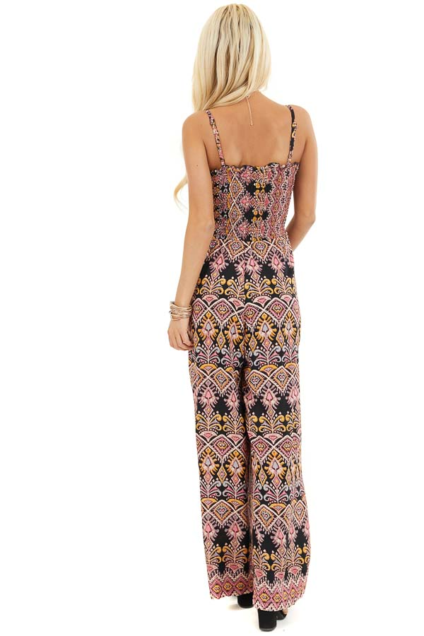 Black and Rose Printed Jumpsuit with Smocked Lace Up Bodice back full body