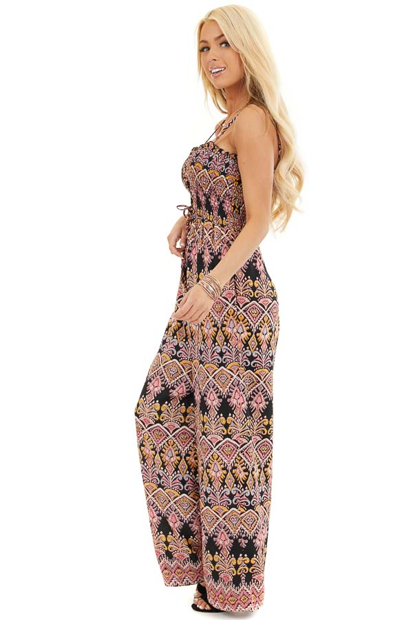 Black and Rose Printed Jumpsuit with Smocked Lace Up Bodice side full body
