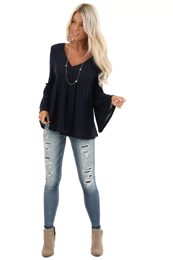 Navy Long Bell Sleeve Top with Back Self Tie and V Neckline front full body