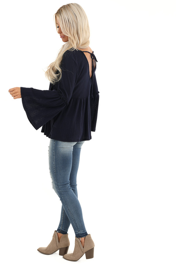 Navy Long Bell Sleeve Top with Back Self Tie and V Neckline side full body