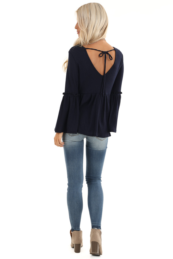 Navy Long Bell Sleeve Top with Back Self Tie and V Neckline back full body