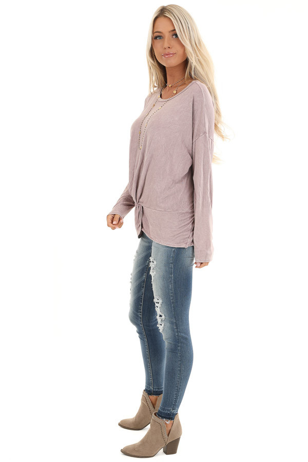 Dusty Lilac Long Sleeve Top with Front Twist side full body