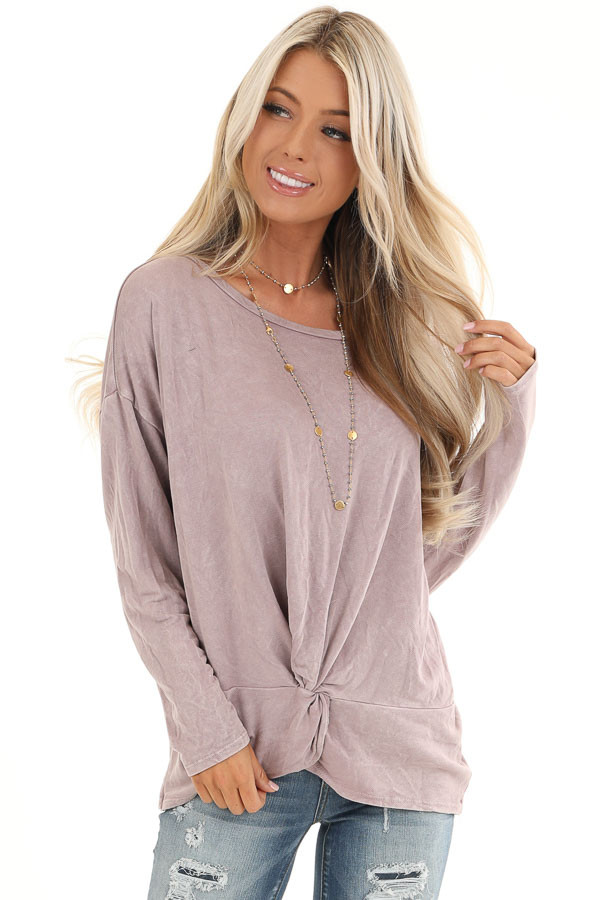 Dusty Lilac Long Sleeve Top with Front Twist front close up