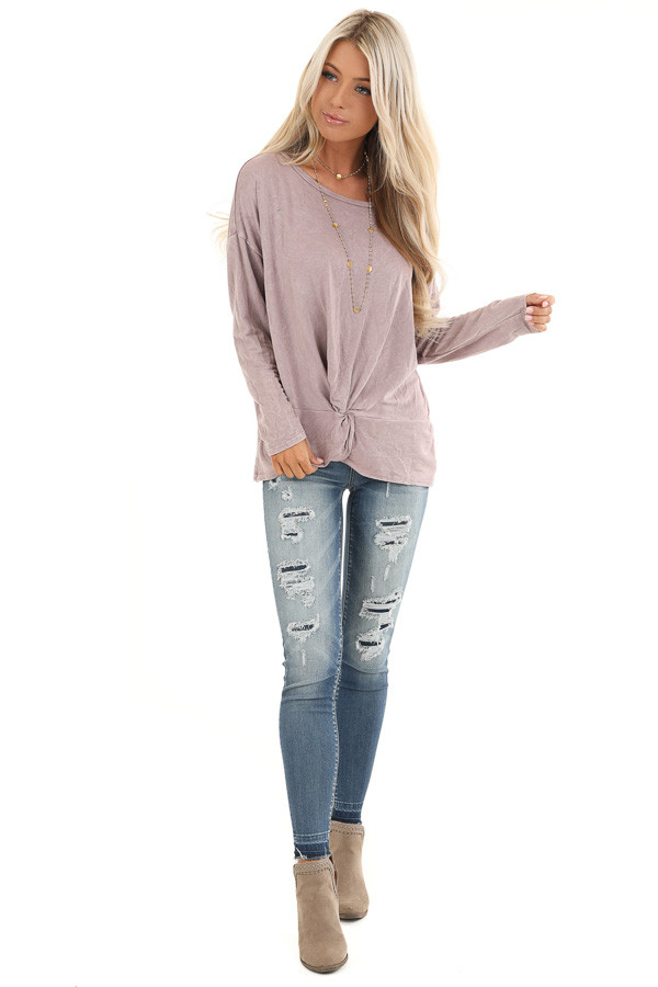 Dusty Lilac Long Sleeve Top with Front Twist front full body