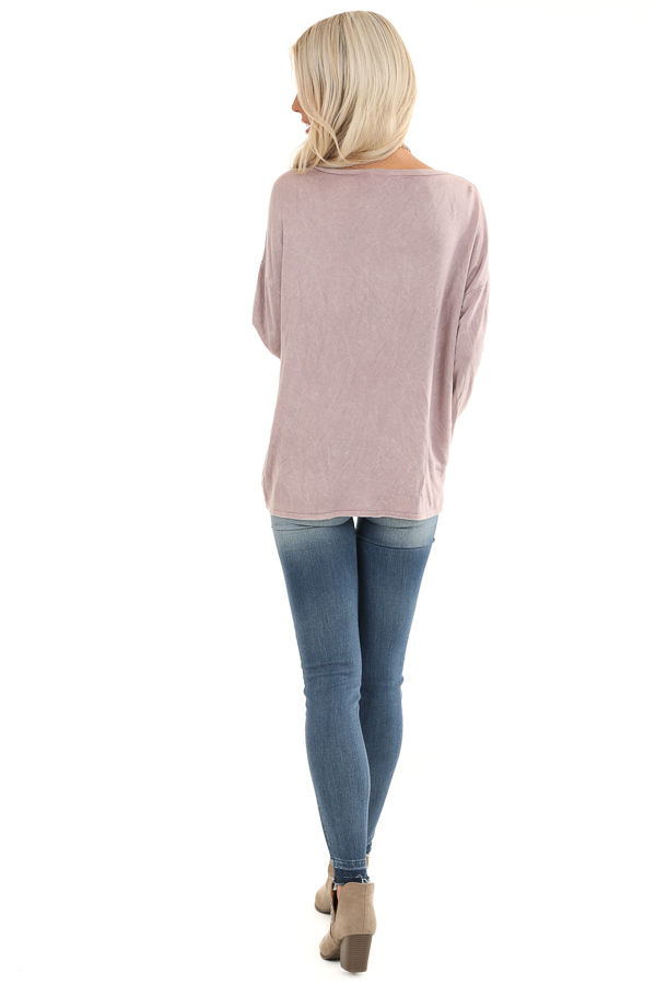 Dusty Lilac Long Sleeve Top with Front Twist back full body