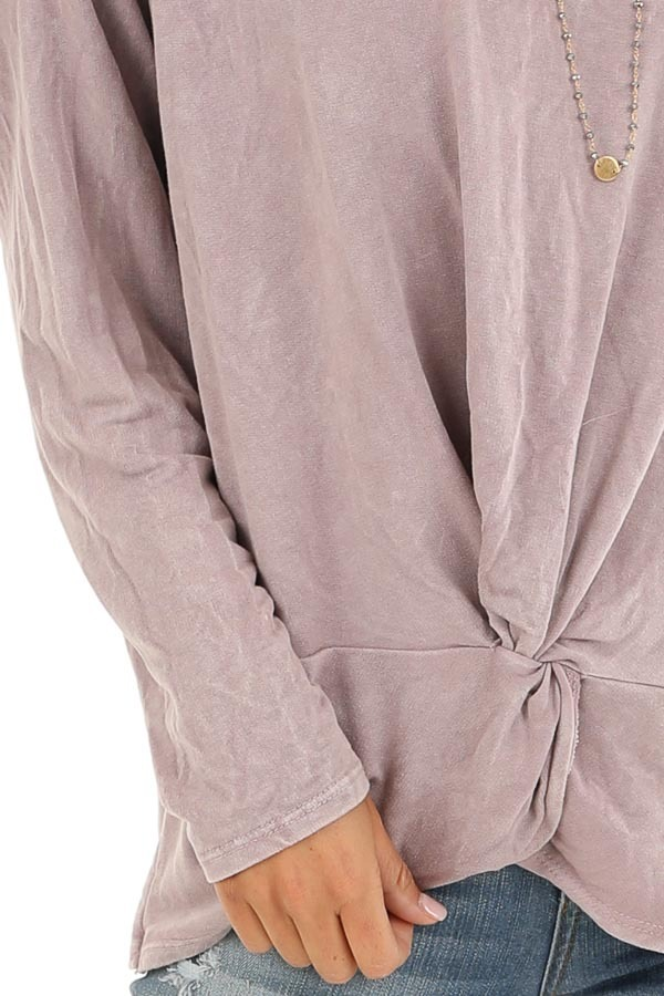 Dusty Lilac Long Sleeve Top with Front Twist detail