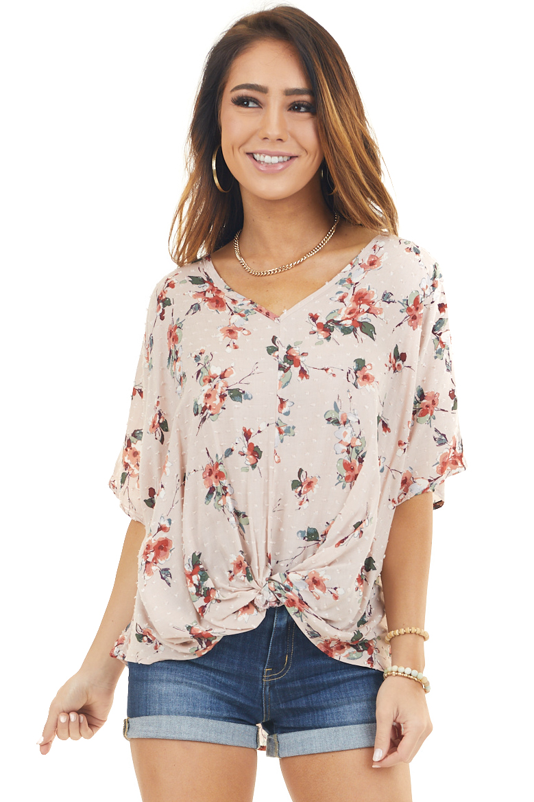 Pale Pink Floral Print V Neck Top with Swiss Dots and Twist