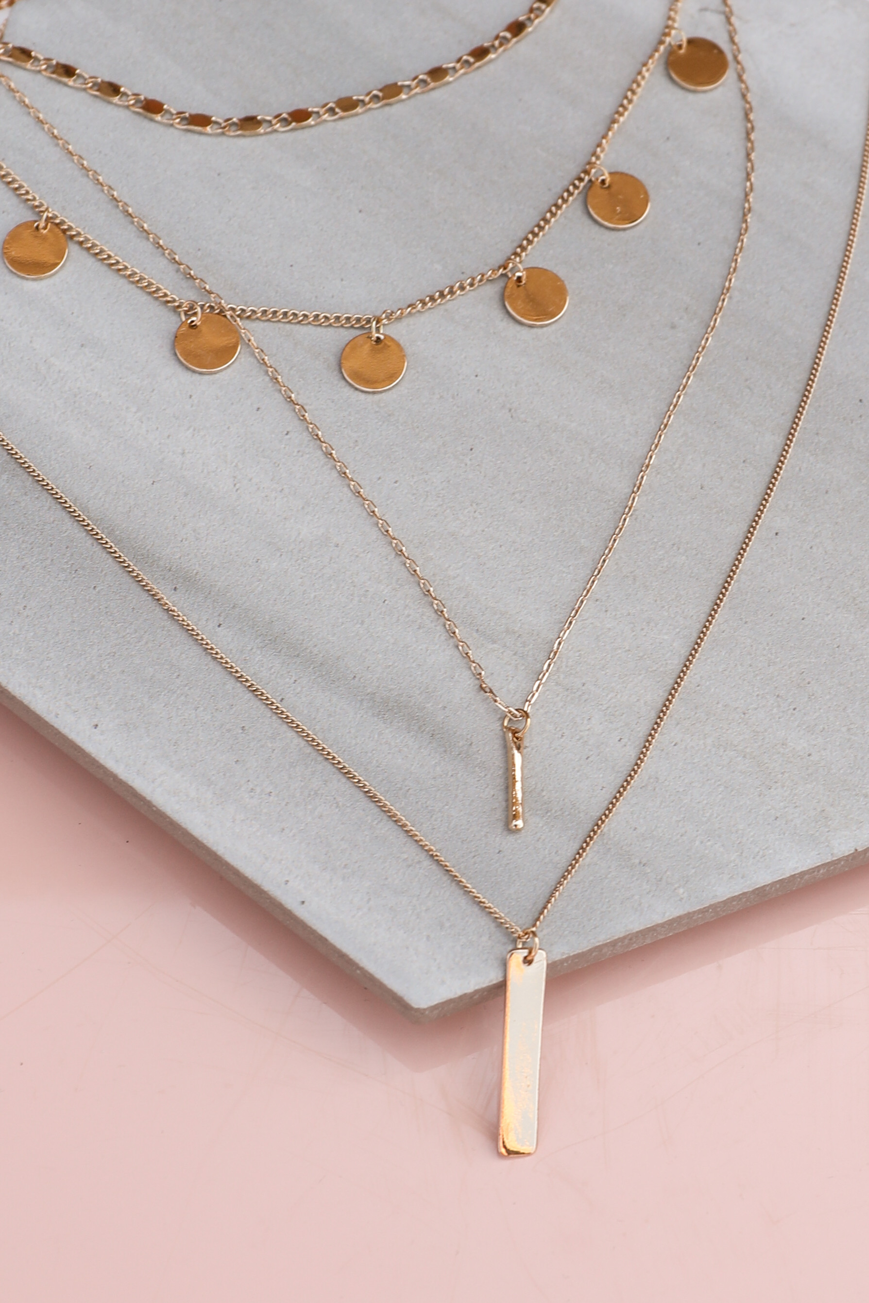 Gold Layered Necklace Set with Coin Details and Bar Pendants