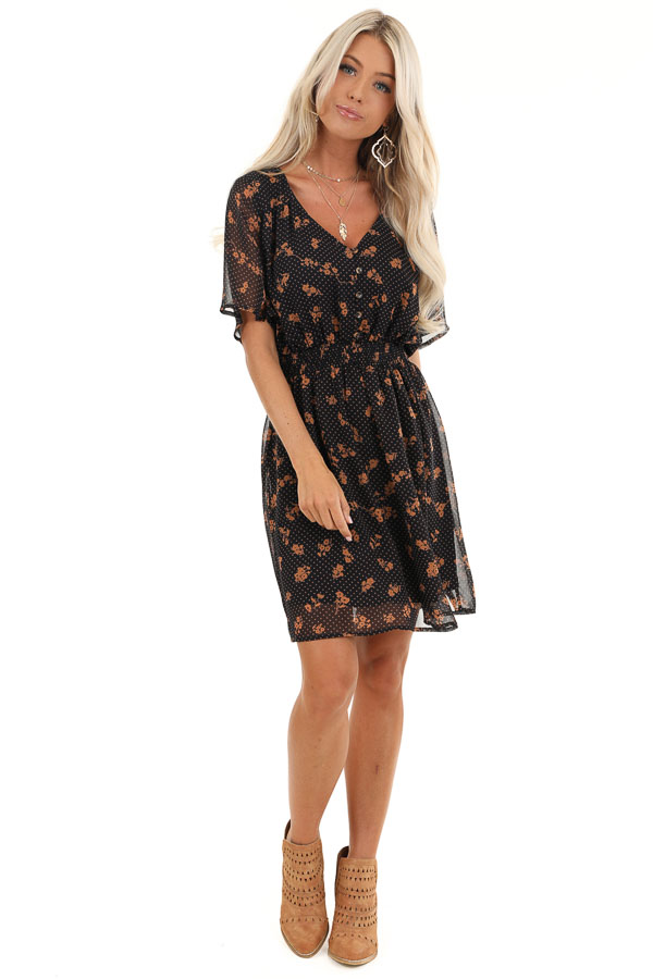 Navy and Clay Multi Print Sheer Mini Dress with V Neckline front full body