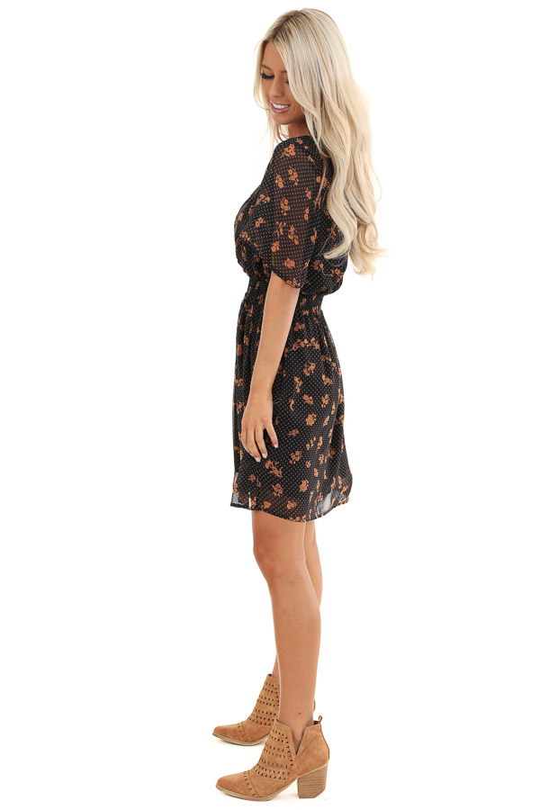 Navy and Clay Multi Print Sheer Mini Dress with V Neckline side full body