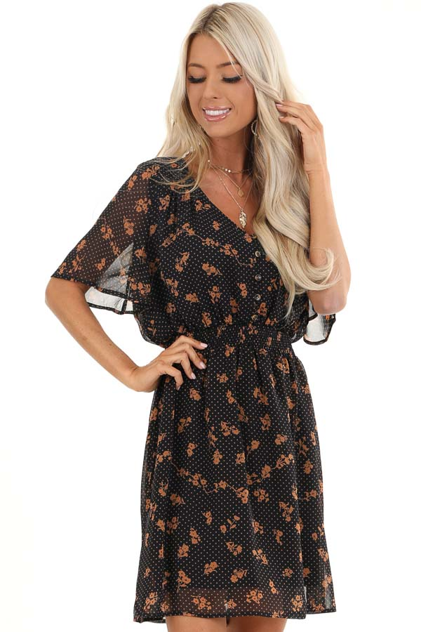 Navy and Clay Multi Print Sheer Mini Dress with V Neckline front close up