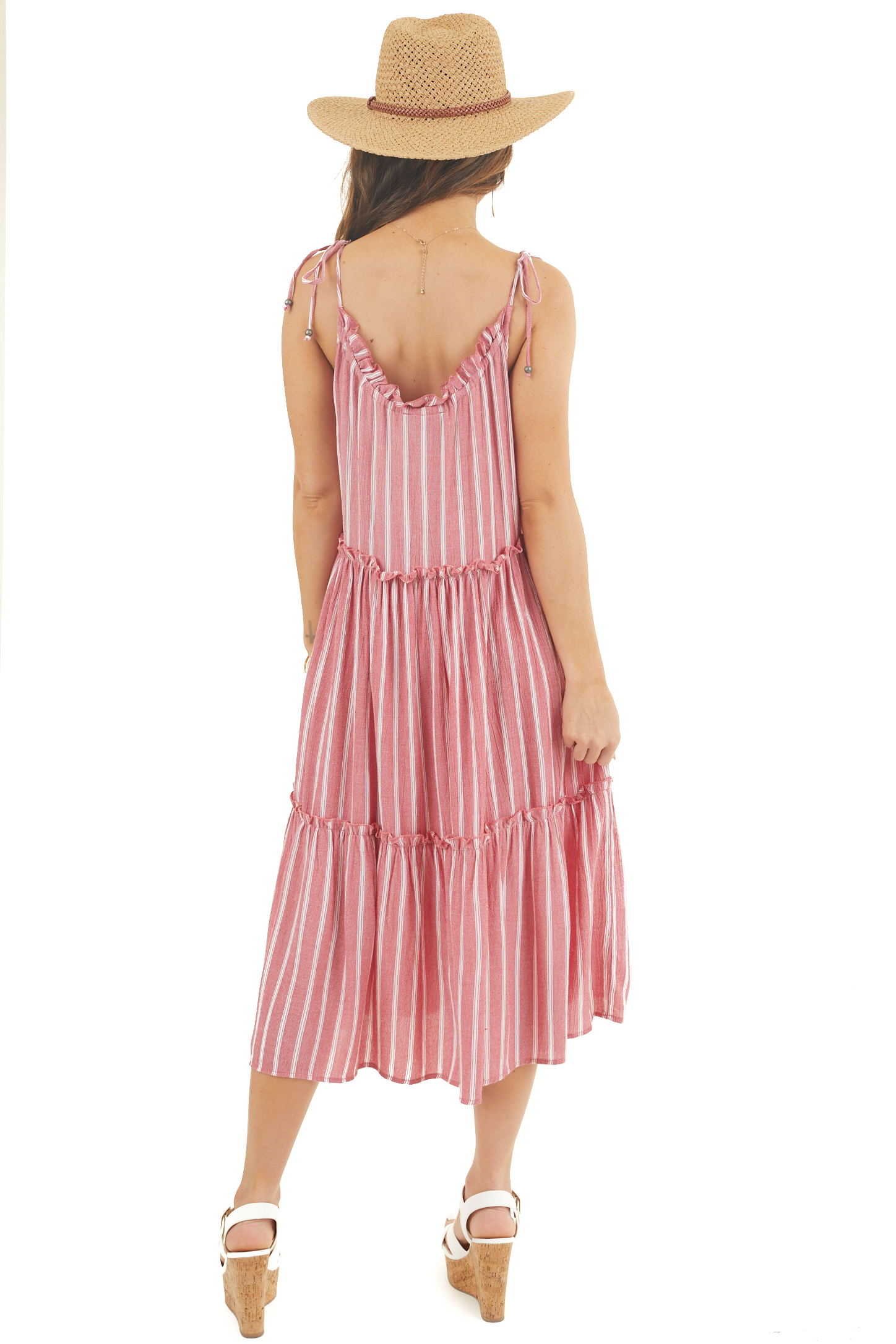 Faded Red and Ivory Striped Midi Dress with Tied Details