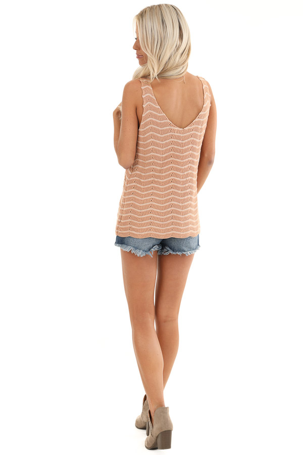 Apricot and Ivory Striped Sweater Top with V Neckline back full body